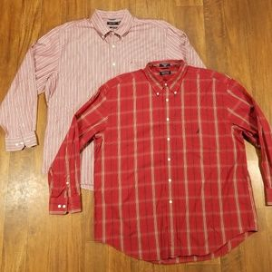 Lot Nautica Mens Red Plaid Striped Christmas